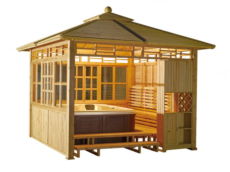 Mexda spas outdoor spa bath hot tub gazebo with windows for Cal spa gazebo